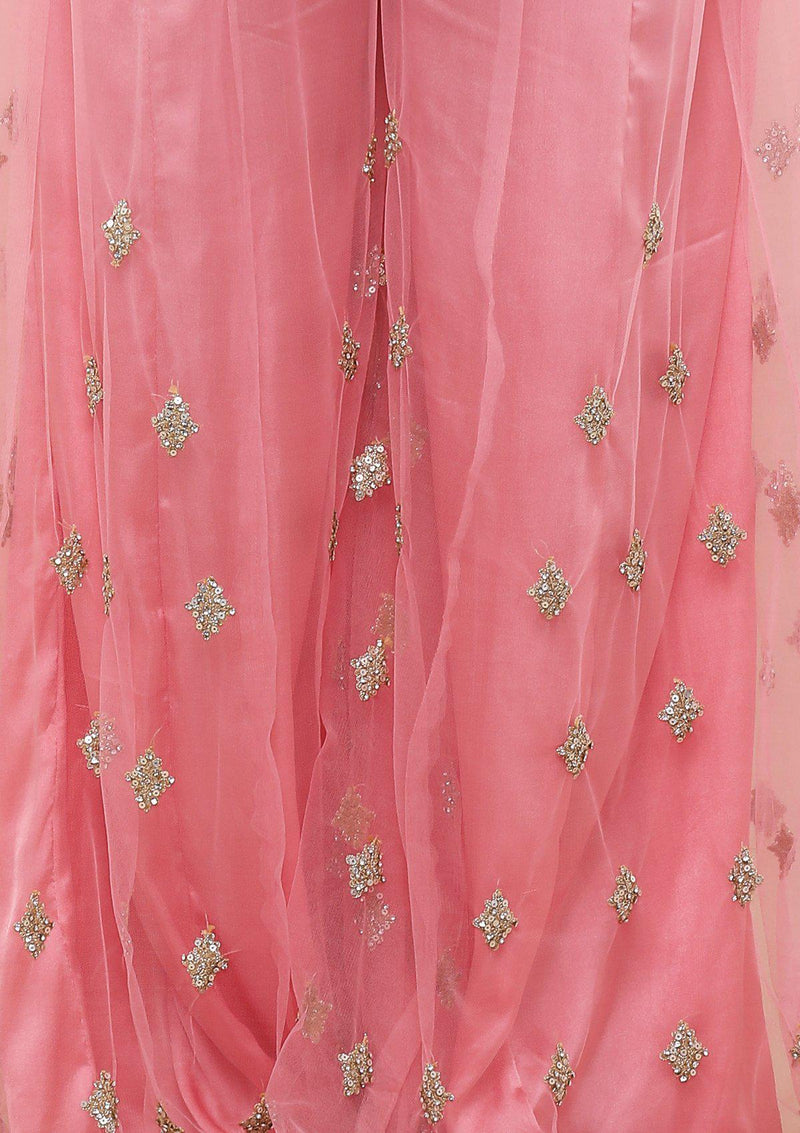 Pink Embroidered Silk Designer Sharara