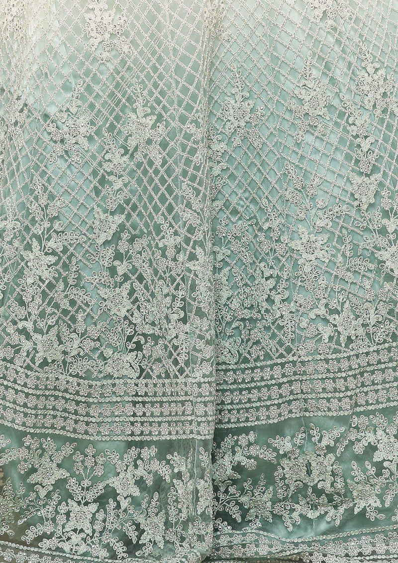 KOSKII GREEN OMBRE THREAD WORK GOWN