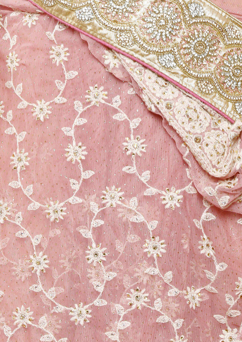 Rose Pink Threadwork Net Designer Saree