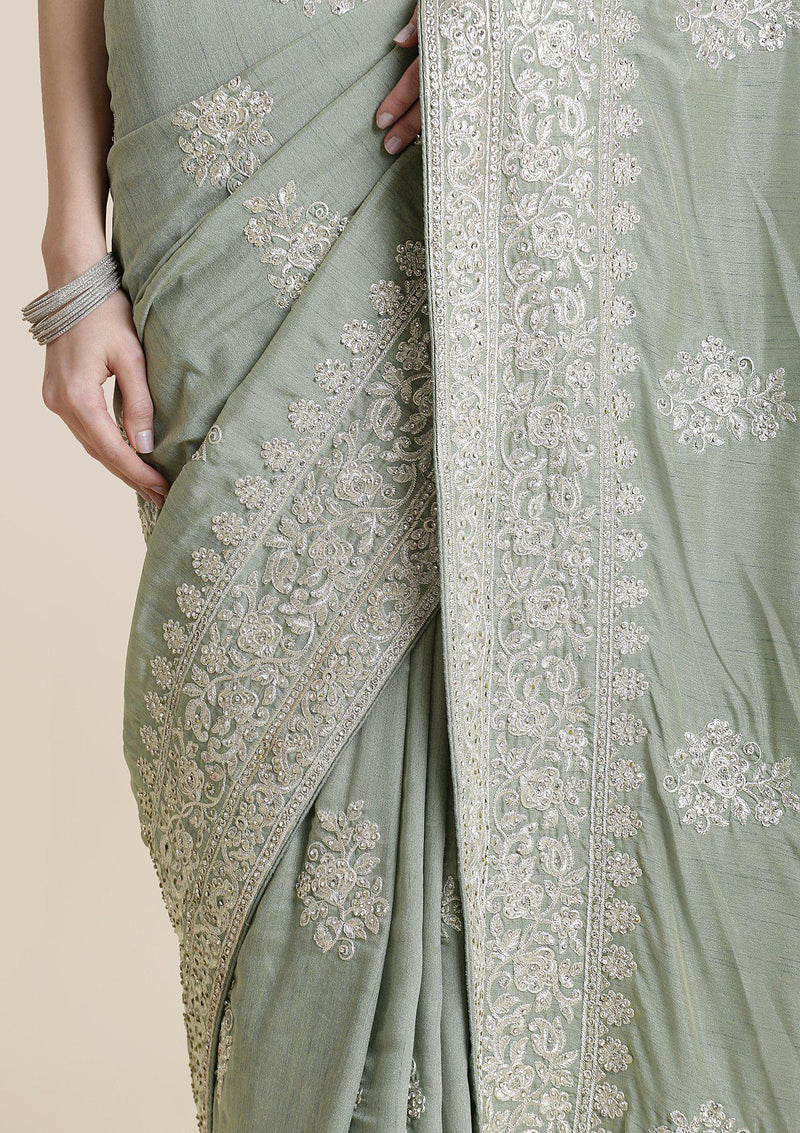 Pista Green Zariwork Art Silk Designer Saree