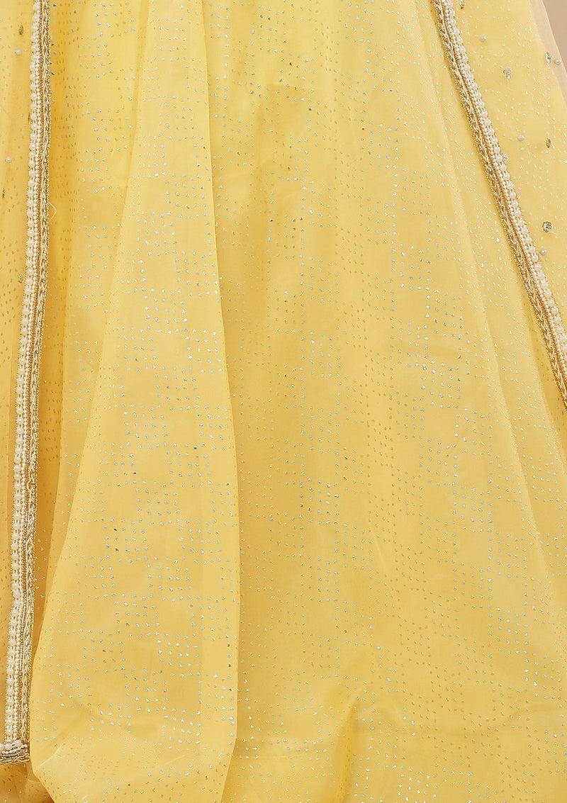 Melon Yellow Stone Work Silk Designer Lehenga