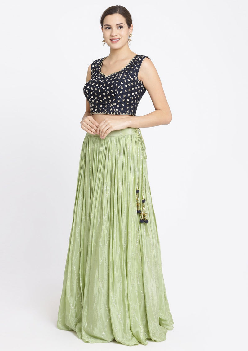 Pista Green and Navy Blue Mirrorwork Satin Designer Lehenga