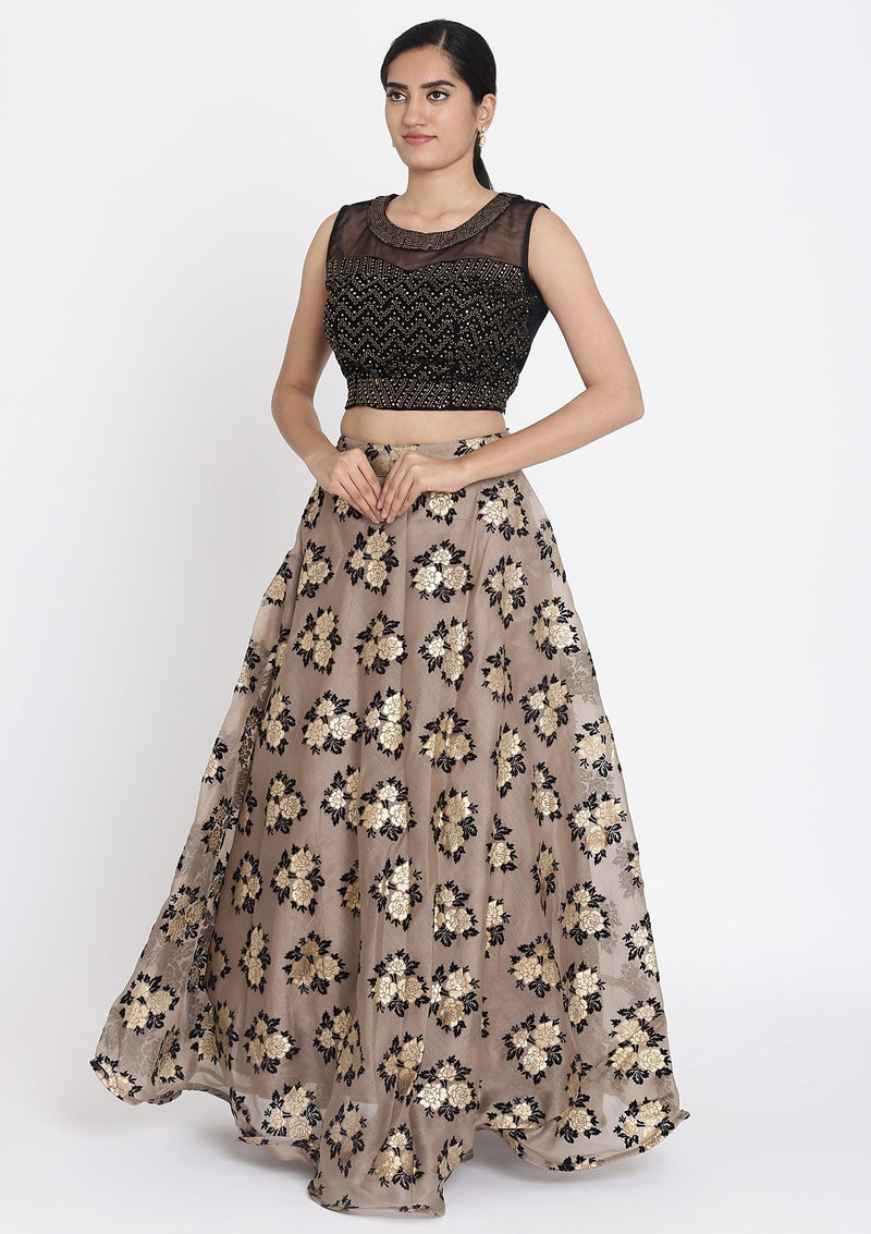 Light-Brown And Black Swarovski Tissue Designer Lehenga