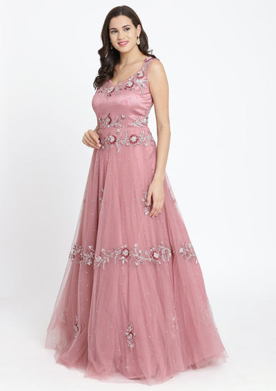 Onion pink Sequinned Net Designer Gown-Koskii