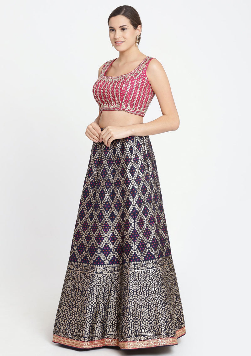 Navy Blue and Fuschia Gotapatti Brocade Designer Lehenga-Koskii