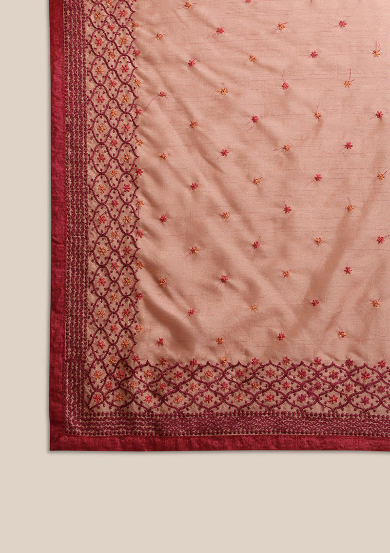 Gold Threadwork Chanderi Designer Saree-Koskii