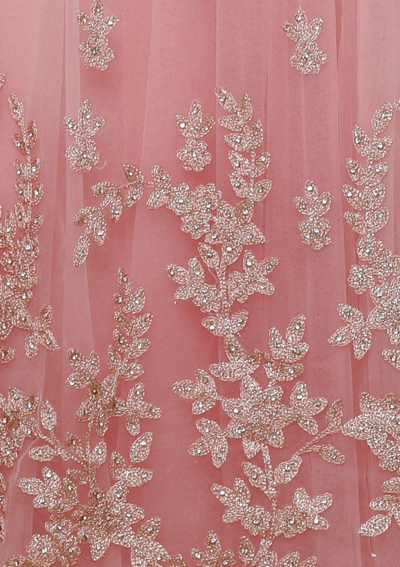 koskii rose pink zari work gown