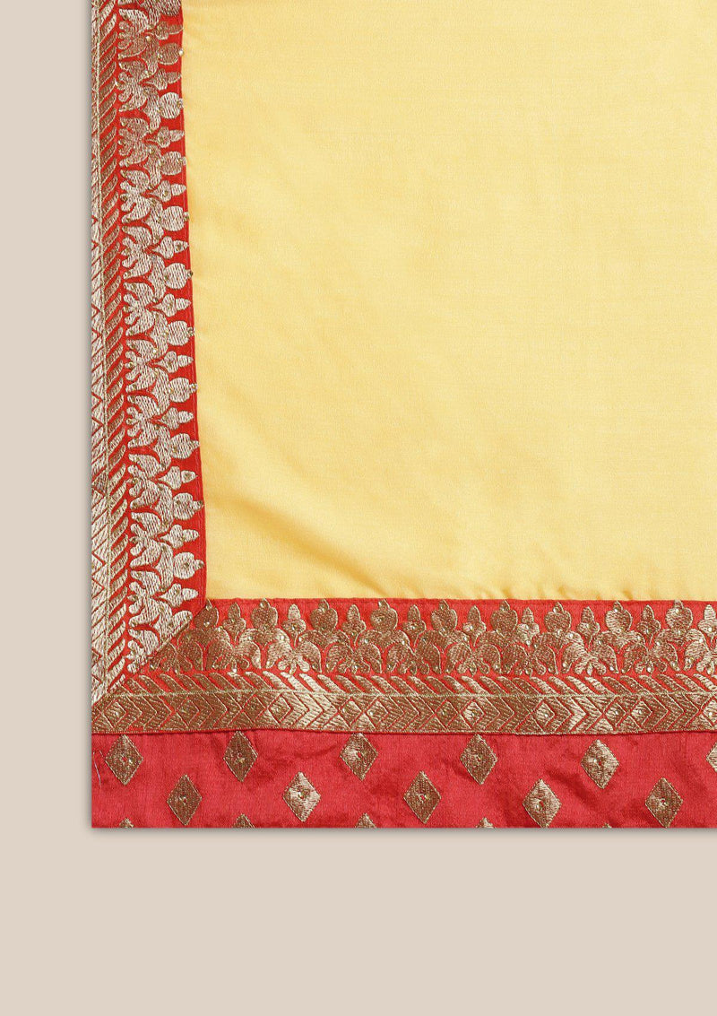 Yellow Zariwork Art Silk Designer Saree