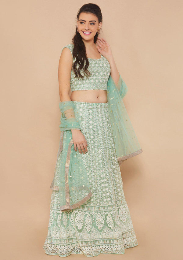 Green Thread-Work Net Designer Lehenga