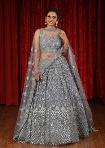 Grey Sequinned Net Designer Lehenga