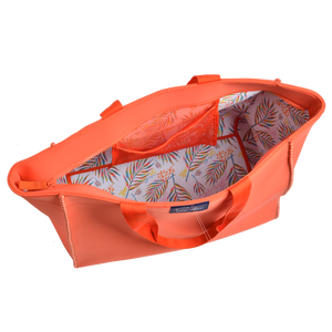 Large Voyager Tote - Trefle Orange/ Palm print-Moda-monoccino