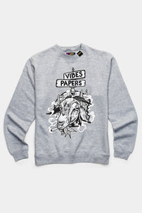 VIBES Goat Collection Heather Gray Crewneck