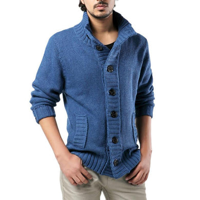 a7910b52c6fca 2017 Mens Thick Sweater Coat Slim Fit Winter Knitted jacket Male stand  collar Casual Cardigan Sweaters