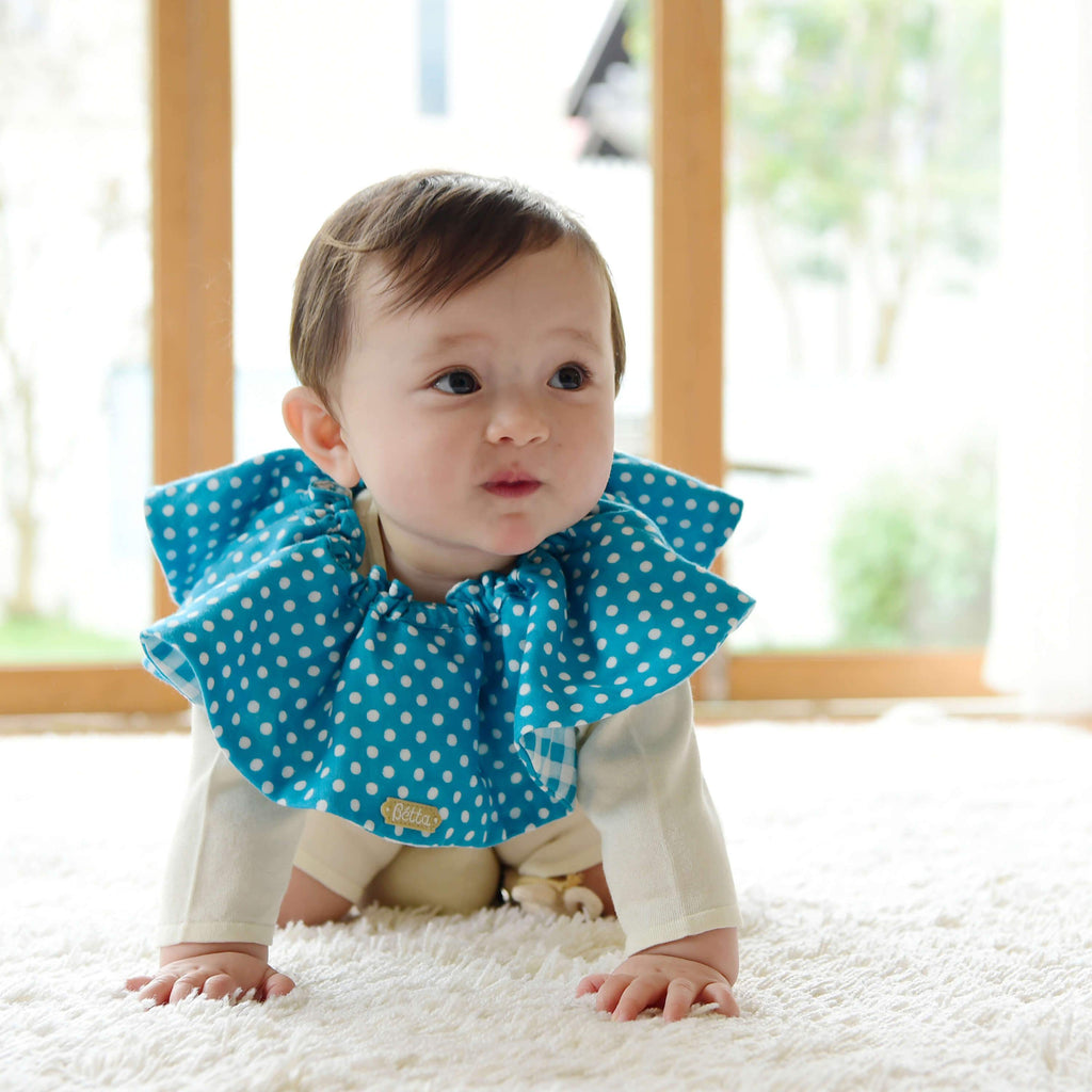 Bétta Bouquet Bib (Blue Dots × Blue Checks)