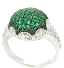 Load image into Gallery viewer, Sterling Silver Green Spinel & CZ Micropave Cluster Ring