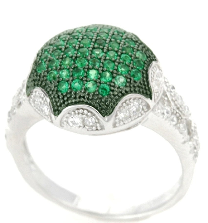 Sterling Silver Green Spinel & CZ Micropave Cluster Ring