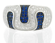 Load image into Gallery viewer, Sterling Silver Blue Spinel & CZ Micropave Ring Band