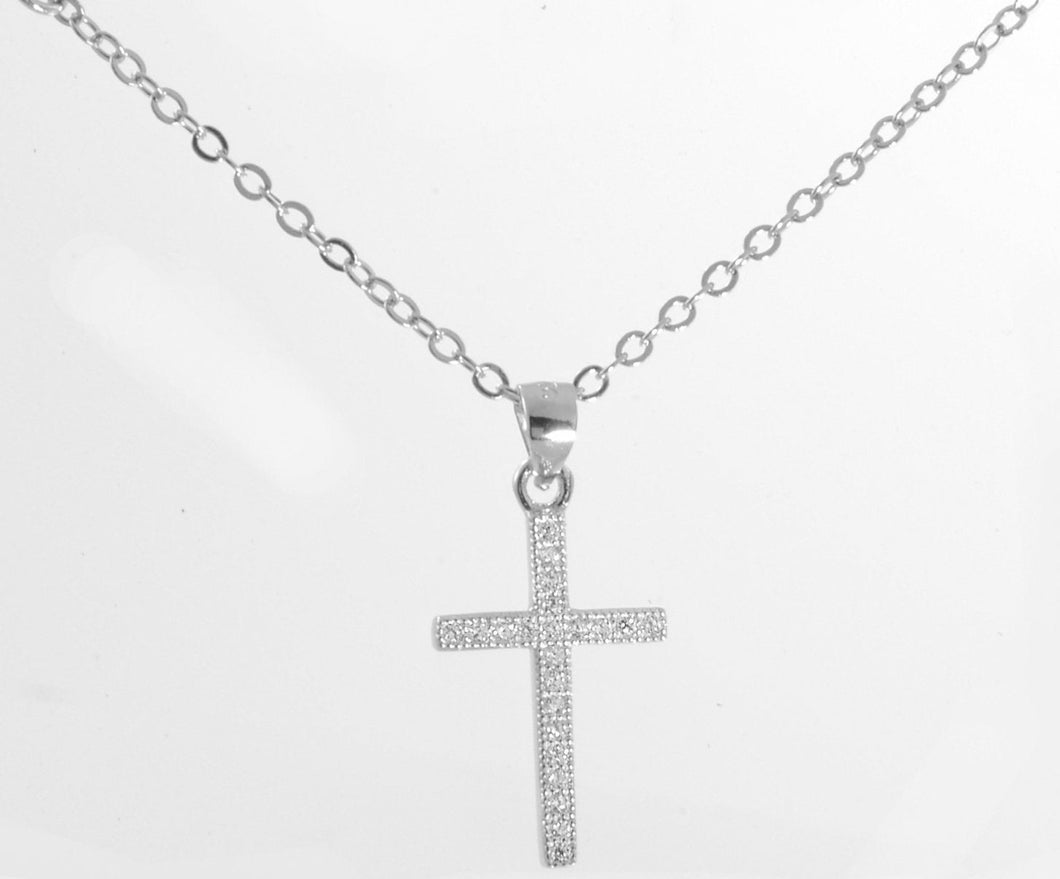 Sterling Silver Micropave Milgrain Cross Pendant with Cubic Zirconia Stones 18