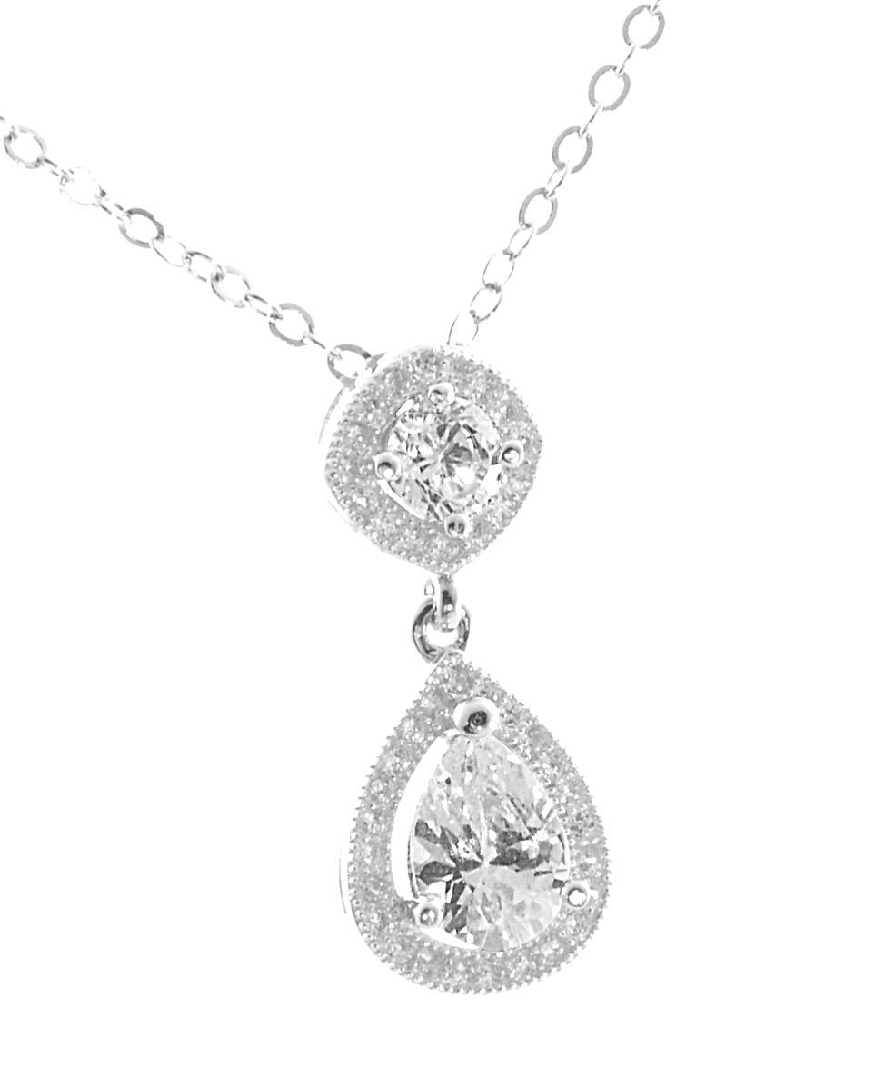 Sterling Silver Milgrain AAA Quality CZ Pear Shape Pendant with 18