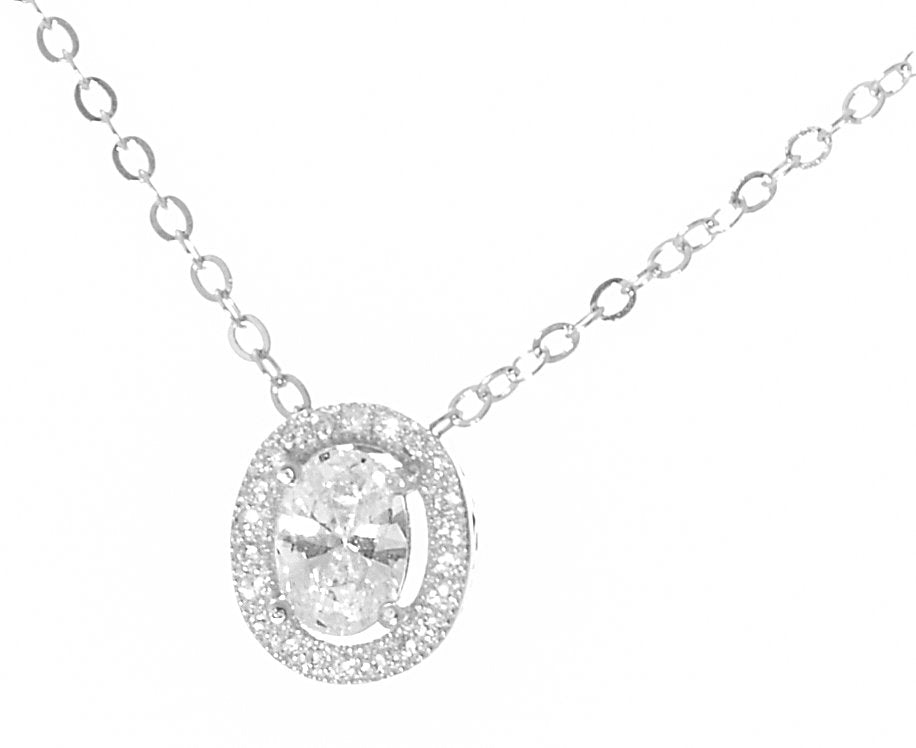 0.60ct TW Oval Clear CZ 925 Sterling Silver Milgrain Necklace and 18