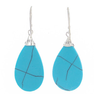 "925 Sterling Silver Natural Turquoise Agate 1.9"" Drop Earrings"