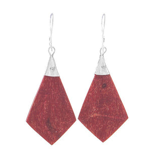 "925 Sterling Silver Natural Red Agate 1.9"" Drop Earrings"