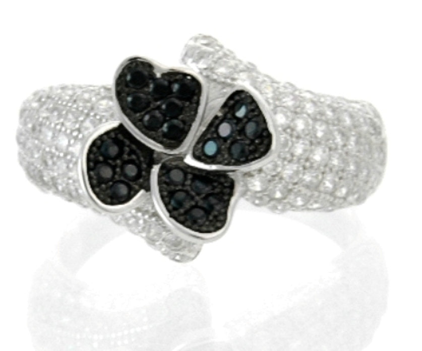 Sterling Silver Black Spinel & CZ Micropave Cluster Ring