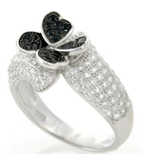Load image into Gallery viewer, Sterling Silver Black Spinel & CZ Micropave Cluster Ring