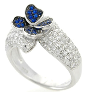 Sterling Silver Blue Spinel & CZ Micropave Cluster Ring
