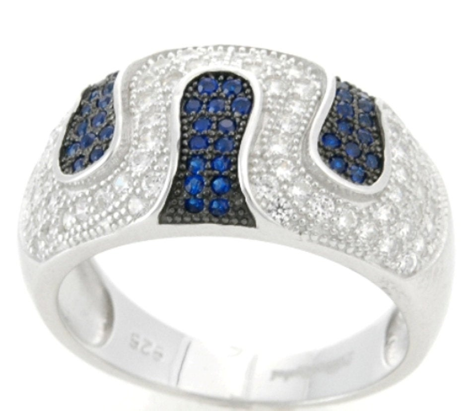 Sterling Silver Blue Spinel & CZ Micropave Ring Band