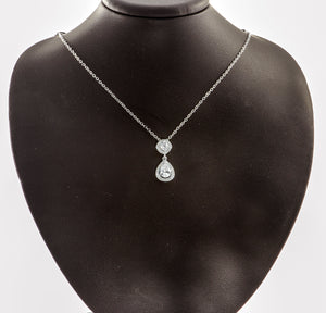 "Sterling Silver Milgrain AAA Quality CZ Pear Shape Pendant with 18"" Chain"