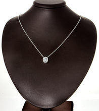 "Load image into Gallery viewer, 0.60ct TW Oval Clear CZ 925 Sterling Silver Milgrain Necklace and 18""Chain"