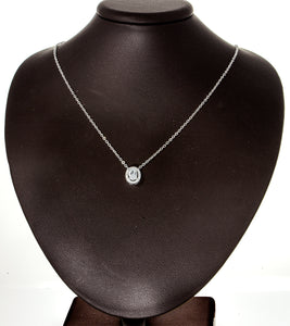 "0.60ct TW Oval Clear CZ 925 Sterling Silver Milgrain Necklace and 18""Chain"