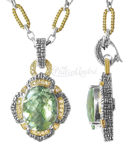 Philip Andre 18K Yellow Gold and 925 Sterling Silver Diamond and Green Amethyst Pendant Enhancer