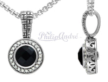 Load image into Gallery viewer, Philip Andre 925 Sterling Silver Onyx and Diamond Pendant/Necklace