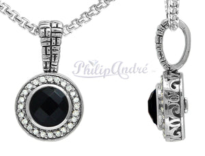 Philip Andre 925 Sterling Silver Onyx and Diamond Pendant/Necklace