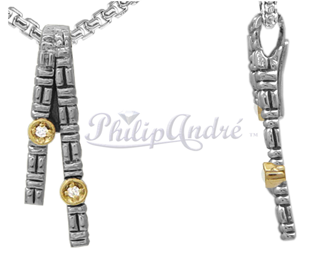 Philip Andre 18k Yellow Gold and 925 Sterling Silver Diamond Pendant/Necklace