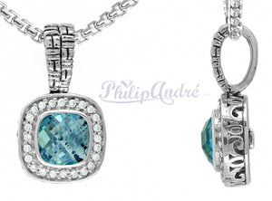 Philip Andre 925 Sterling Silver Diamond and  Sky Blue Topaz Pendant/Necklace