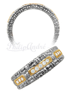 Philip Andre 18K Yellow Gold and 925 Sterling Silver  0.14ct TW Diamond Ring