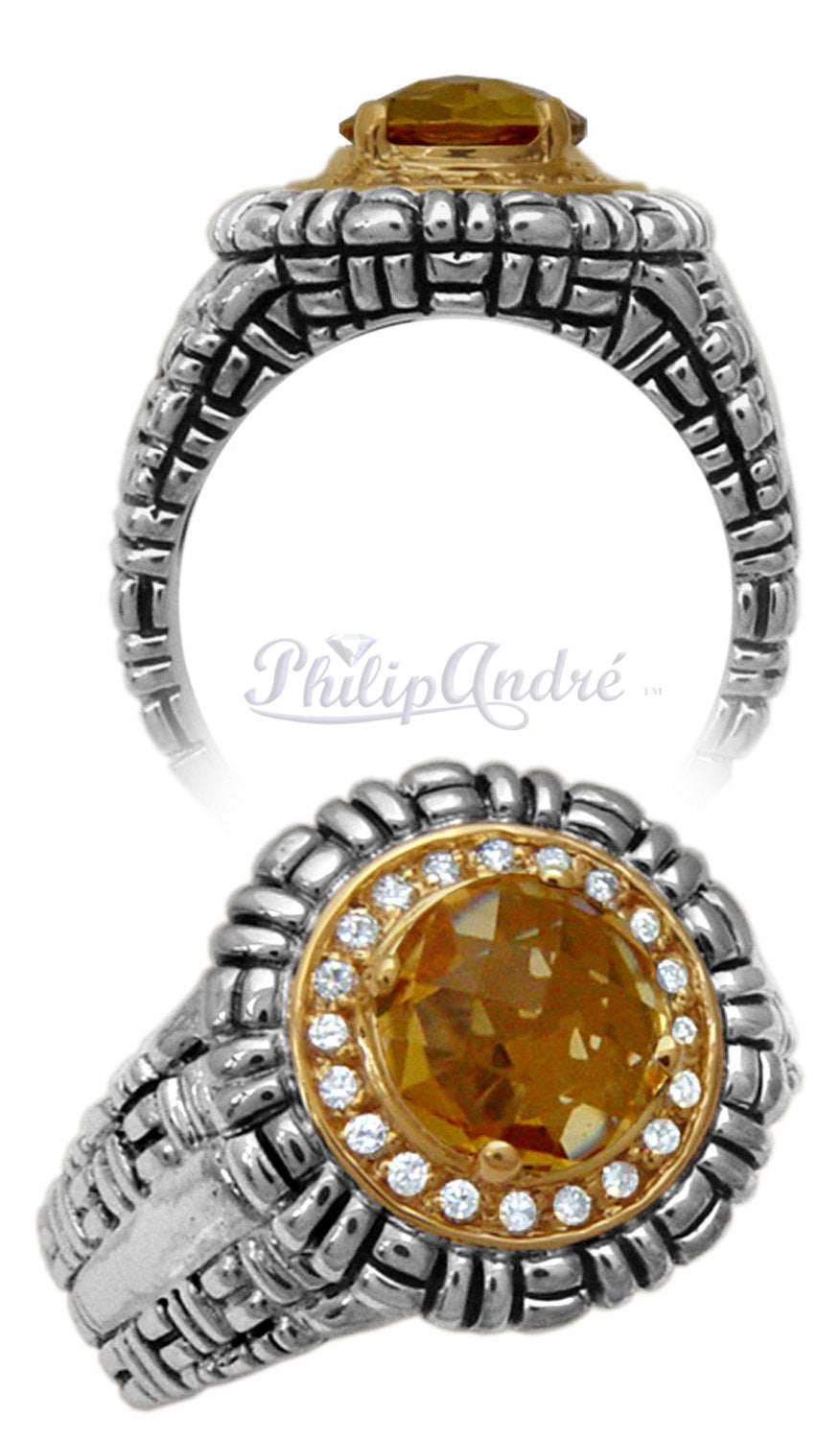 Philip Andre 18K Yellow Gold and Sterling Silver Diamond and Honey Quartz Ring