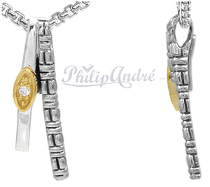 Authentic Philip Andre 18k Yellow Gold and 925 Sterling Silver Diamond Pendant/Necklace