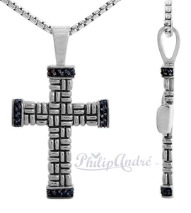 Philip Andre 925 Sterling Silver Black Diamond Cross Pendant/Necklace