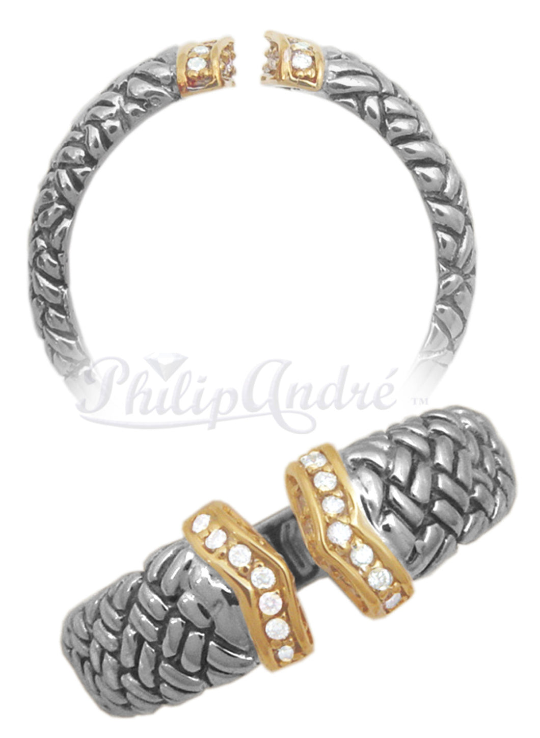 Philip Andre 18K Gold & 925 Sterling Silver Pave-set Diamond Ring