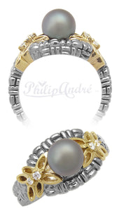 Philip Andre 18K Gold and Sterling Silver Diamond & Gray Pearl Ring