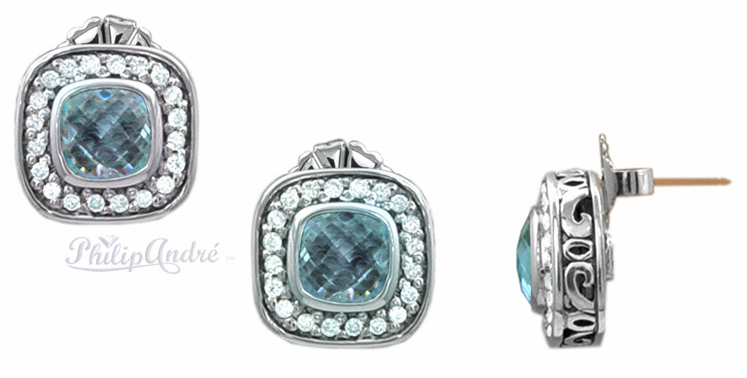 Philip Andre 925 Sterling Silver Diamond & Blue Topaz Earrings with 18K Yellow Gold  posts