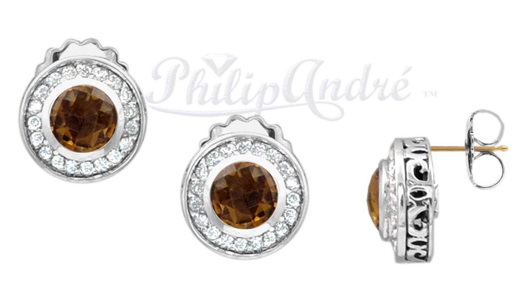 Philip Andre 925 Sterling Silver Diamond and Cinnamon Quartz Earrings with 18K Yellow Gold posts