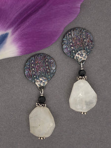 Silver with patina, moonstone, black spinel, post earrings.