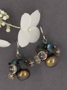 Chocolate pearls, labradorite, vintage Czech crystals, wire earrings.