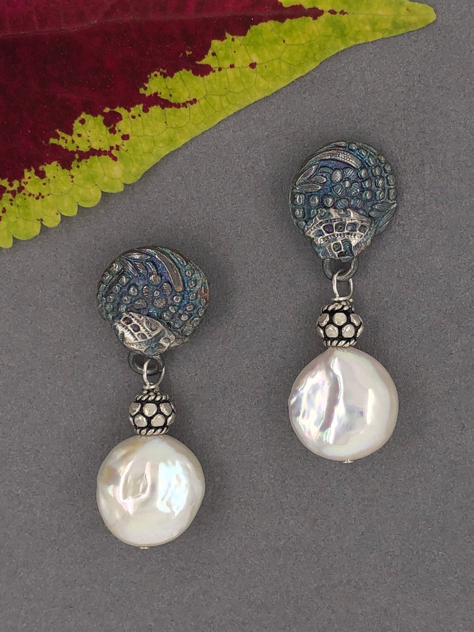 Silver with patina, freshwater pearls, post earrings.