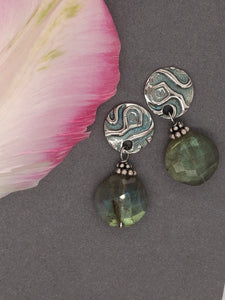 Silver with patina, labradorite post earrings.
